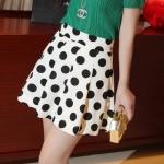 [Preorder] กระโปรงทำงานแฟชั่นสั้น ลายจุดสีเหลืองอ่อน (ไซส์ S M) Korea cute retro wild big wave point thick waist loose chiffon skirt bust skirt black wave point anti emptied