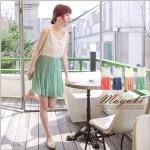 [Preorder] เดรสแฟชั่นแขนกุดกระโปรงพลีท สีเขียว Dimensional flower collar fine pleated chiffon dress