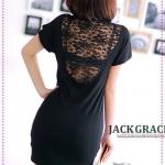 เดรสแขนสั้นเปิดหลังลูกไม้ตัววีสีดำ JackGrace mystery! Back large V lace stitching sexy dress