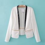 [Preorder] เสื้อสูทแฟชั่นแขนยาว แบรนด์ TOPSHOP สีขาว (ไซส์ S M L) 2014 Fall New European style TOPSHOP spell color zipper hem stitching small suit jacket suit influx of women