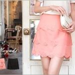 ♥♥ สีชมพู,ดำพร้อมส่ง ♥♥ กระโปรงสั้นระบายชั้นขอบโค้ง แต่งแต่ละชั้นด้วยรูเก๋ๆ สวยน่ารักๆ