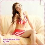 บิกินนี่กระโปรงลายทางสีแดง Striped tie neck bikini two groups Tokyo Fashion 100% (Preorder)