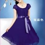 เดรสแขนตุ๊กตาสีน้ำเงิน double hot temperament of colored silk dress