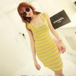 [Preorder] เดรสแฟชั่นแขนกุดลายขวางคอเหลี่ยม สีเหลืองเทา 2013 summer new Korean version of Women Stripe Square Neck Slim short-sleeved skirt dress สำเนา