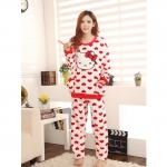 [Preorder] ชุดนอนแฟชั่นเสื้อแขนยาวและกางเกงขายาวลาย Hello Kitty สีขาว new winter cute cartoon KT cat flannel pajamas thick coral velvet suit tracksuit female princess