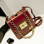 [Preorder] กระเป๋าสะพายข้างใบเล็ก สไตล์วินเทจเก๋ไก๋ สีแดง Chain bag small fragrant wind female 2015 spring and summer fashion retro small square bag woven bag diagonal chain bags