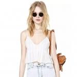 [Preorder] เสื้อสายเดี่ยวแฟชั่นคอวีสไตล์ยุโรป สีขาว (ไซส์ XS S M L XL XXL) Deep V straps chiffon tutu skirt folds thin straps sweet vest