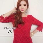 เดรสผ้าลูกไม้สีแดงสวยสวยสไตล์สาวเกาหลี