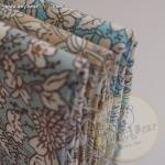 เซตผ้าฝ้ายลายดอกโทนสีฟ้า-เทา (1/8 หลา ) 3 ชิ้น