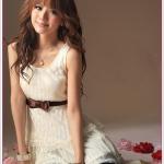 เดรสลูกไม้สี Apricot Korean high-end lace princess temperament dress