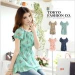 [Preorder] เสื้อแฟชั่นแขนสั้นตุ๊กตาลายดอก สีเขียว แบรนด์ Tokyo Fashion ของแท้ 100% Printed waist Figure Punta sleeves, chiffon blouse
