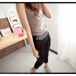 กางเกงแฟชั่น กางเกงฮาเร็ม ทรงสบายสีดำ