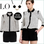 [Preorder] จั๊มสูทแฟชั่นแบรนด์ Lily สไตล์ยุโรป ลายตาราง The 2013 new LILY grid, black and white plaid chiffon one-fifth sleeve lapel shirt Chiffon Shorts Rompers