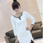 [Preorder] เดรสแฟชั่นแขนยาวเข้ารูปคอวี สีขาว 2012 the new thickened models of the winter section classic dress V-neck long-sleeved Slim wild dress