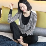 [Preorder] ชุดเสื้อกางเกงสำหรับว่าที่คุณแม่หรือคุณแม่สมัยใหม่ Maternity Spring and Autumn Korean models stretch striped the the Nursing Wear lactation suit breastfeed clothing out clothes