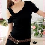 เดรสแฟชั่นเปิดไหล่สีดำ (ไม่รวมเข็มขัด) SEXY sweetheart ~ shoulder rib long version of the dress shoulder Slim dress (Preorder)