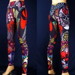 กางเกงลายคาบูกิ leggings สำหรับออกกำลังกาย โยคะ พิลาทิส ฯลฯ สำเนา