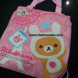 กระเป๋าถือ หรือ หูรูด ลาย Rilakkuma สีชมพู ขนาด 14x14 นิ้ว
