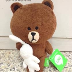 ตุ๊กตาไลน์ หมีบราวน์ อุ้มกระต่าย ขนาด 20cm