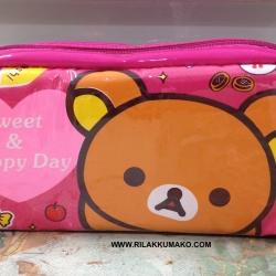 กระเป๋า หมีริลัคคุมะ ใส่เครื่องสำอางค์ หรือ ใส่ของเอนกประสงค์ ขนาด 7x4นิ้ว สีชมพูเข้ม
