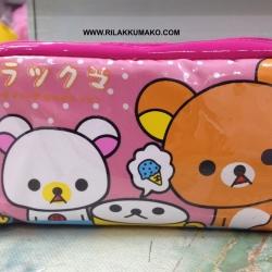 กระเป๋า หมีริลัคคุมะ ใส่เครื่องสำอางค์ หรือ ใส่ของเอนกประสงค์ ขนาด 7x4นิ้ว สีชมพูอ่อน