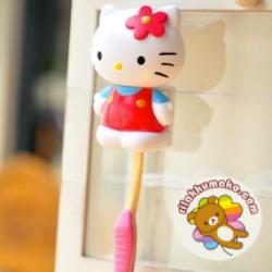 ที่แขวนแปรงสีฟัน พร้อมจุ๊บติดกระจก ลาย คิตตี้ Hello Kitty