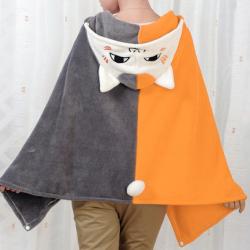 ผ้าคลุมไหล่ พร้อม Hood ลาย อาจารย์แมว เนียนโกะ เซ็นเซย์ Nyanko Sensei เนื้อผ้าขนหนู หนานุ่ม (สั่งซื้อ3ผืน เหลือผืนละ 400บาท)