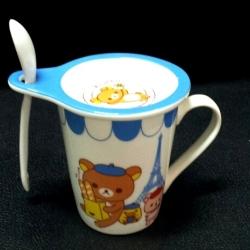 แก้วกาแฟ Rilakkuma เซรามิค มีฝาปิดและช้อน