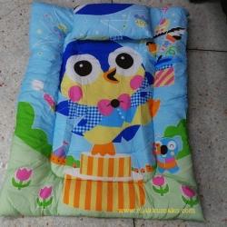ที่นอนเด็ก แบบหนา พับเก็บได้ เหมาะสำหรับเด็กอนุบาล สีฟ้า ลายนกฮูก