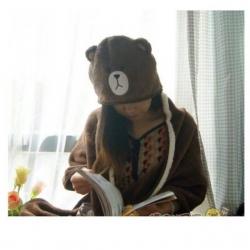 ผ้าคลุมไหล่ พร้อม Hood ลายหมีบราวน์ Brown