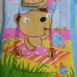 ที่นอนเด็ก แบบหนา พับเก็บได้ เหมาะสำหรับเด็กอนุบาล สีฟ้า ลายหมี