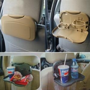 ถาดวางอาหารในรถยนต์แบบพับเก็บได้ พร้อมมีที่วางแก้วน้ำหรือขวดน้ำในตัว
