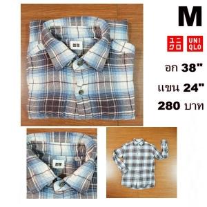 เสื้อเชิ้ตลายสก๊อต เสื้อเชิ้ตUNIQLO Size M
