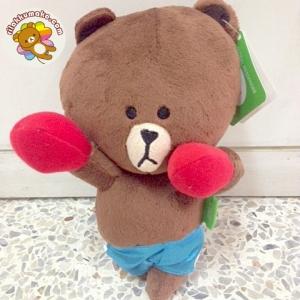 ตุ๊กตาไลน์ ตุ๊กตาหมี บราวน์ ใส่ชุดชกมวย 20cm