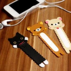 ที่พันสายไฟ รุ่นแบน มี3ลาย: Rilakkuma หมีน้ำตาล, Korilakkuma หมีสีครีม และ แมวดำ Kutsushita