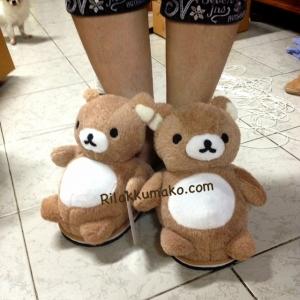 รองเท้าใส่ในบ้าน ลาย Rilakkuma ริลัคคุมะ หมีน้ำตาล ขนาด Freesize
