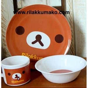 ชุด จาน+ชาม+แก้ว 1เซ็ตมี3ชิ้น ลาย หมีริลัคคุมะ Rilakkuma