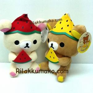 ตุ๊กตา หมีคู่ ริลัคคุมะ และ โคะริลัคคุมะ กินแตงโม ขนาด 7นิ้ว