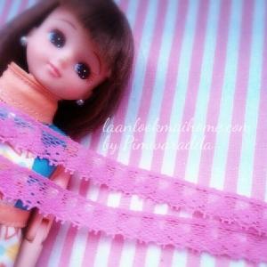 ลูกไม้แบบยางยืด กว้าง1 cm สีชมพู