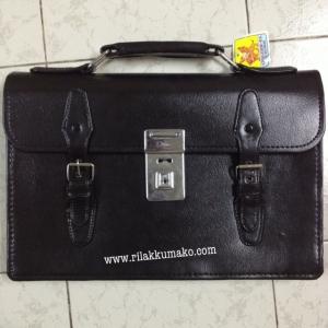กระเป๋านักเรียน แบบถือ หนังดำ 3ช่อง(ไม่ซิบ)+2ช่อง(ซิบ)+ช่องใส่บัตร คุณภาพดี