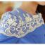 พร้อมส่ง เสื้อคลุมสีฟ้าแต่งลูกไม้สีขาว thumbnail 6