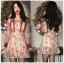 ชุดเดรสสั้นผ้าลูกไม้ปักลายดอกไม้โทนสีเขียว-แดง thumbnail 3