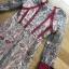 ชุดเดรสสั้นผ้าลูกไม้ปักลายดอกไม้โทนสีเขียว-แดง thumbnail 6