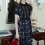 Long dress ฉลุสีกรม แขนสั้นซับในเย็บติดสีเนื้อช่วงอกยาวเหนือหัวเข่า thumbnail 1