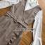 เดรสลายสก็อตสีเบจทับเสื้อลูกไม้สีขาวทรงคอสูง thumbnail 5