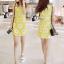 mini dress สีเหลืองแขนกุด ปักลายดอกไม้สีเหลือง thumbnail 3
