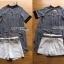 เซ็ตเสื้อผ้าชีฟองลายทางตกแต่งคริสตัล+กางเกงขาสั้นสีขาวพร้อมเข็มขัด thumbnail 5