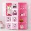 ตู้ DIY ลายการ์ตูน Hello Kitty ข้างตู้มีสีชมพู//ฟ้า//แดง/ขาวใสลายเส้น ขนาดช่องละ 37x37 ซม. รับน้ำหนักได้ช่องละประมาณ 10-15 กิโลกรัม (ขนาด 12 และ 16 แถมชั้นวางรองเท้า) thumbnail 1