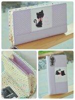(พร้อมส่ง)กระเป๋าสตางค์เกาหลี CAT-CAT สีม่วง