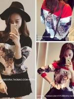 เสื้อผ้าแฟชั่นเกาหลี แขนยาว สีดำ/สีแดง ตัดต่อผ้าลายดอกไม้กราฟฟิก ใส่สบายๆ